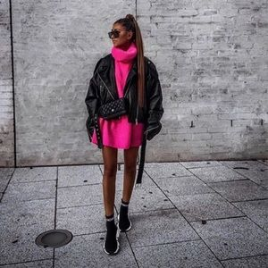 Hot pink long sweater dress